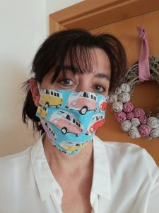 Mund Nase Maske genäht Baumwolle Erwachsene Bus Türkis Fächer